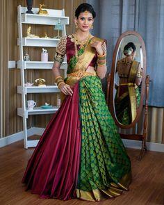 Lehenga Saree Design, Half Saree Lehenga, Saree Look, Lehenga Designs, Bridal Lehenga, Lehanga Saree, Sharara Suit, Silk Sarees, Lahenga