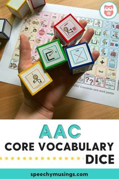 A Gift of Speech found this awesome AAC activity. Make these fun core vocabulary dice using low-tech AAC boards as a simple speech therapy activity to work on sentence formulation and core vocabulary, AAC skills. From Speechy Musings. Preschool Speech Therapy, Speech Activities, Vocabulary Activities, Speech Language Therapy, Speech Therapy Activities, Language Activities, Speech And Language, Speech Pathology, Articulation Activities