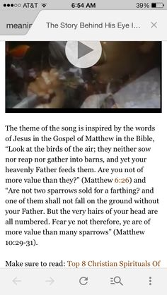 """""""Eye on the Sparrow"""" scripture reference"""