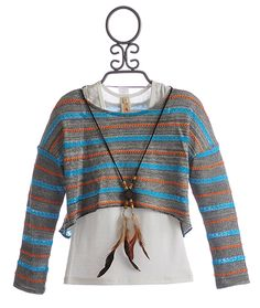 Tru Luv Tween Cropped Sweater Striped Happy Days