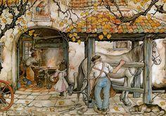 Artwork by Anton Piek Dutch painter, artist and graphic artist. Dutch Artists, Great Artists, Illustration Arte, Anton Pieck, Art Gallery, Dutch Painters, 3d Prints, Blacksmithing, Fairy Tales