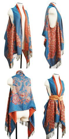 Project: DIY draped vest from scarf. This would be a funky thing to do with one of those Turkish pashmina scarves.