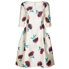 Oscar de la Renta Floral Silk Dress (€2.705) ❤ liked on Polyvore featuring dresses, silk dress, white a line dress, white flower dress, floral a line dress and white flared dress
