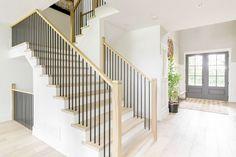 Hardwood Stairs, Oak Stairs, Staircase Railings, House Stairs, Staircase Design, Staircase Remodel, Dark Staircase, Cottage Stairs, Entry Stairs