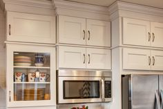 """Crown cabinets - they call this """"Stacked Cabinets"""", Sub Crown (the wood between the cabinets maybe? Crown Cabinets, Kitchen Cabinets Trim, Cabinet Trim, Condo Remodel, Home Kitchens, Home Remodeling, The Originals, Wood, Crown Molding"""