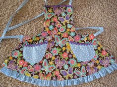 butterfly and blue polka dot apron