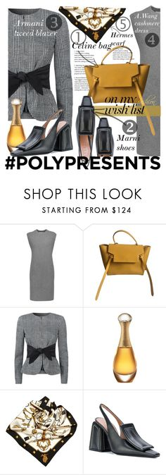 """""""#PolyPresents: Fashion Wish List"""" by olga1402 ❤ liked on Polyvore featuring Alexander Wang, CÉLINE, Armani Collezioni, Christian Dior, Hermès, Marni, armani, celinebag, contestentry and polyPresents"""
