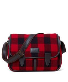 3230990d2d60 Buffalo check messenger  handbag Red And Black Plaid