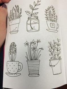 Flower pot doodles more drawings gekritzel, zeichnungen, kri Easy Doodles Drawings, Ink Doodles, Flower Doodles, Doodle Flowers, Calligraphy Doodles, Easy Doodle Art, Easy Art, Doodle Inspiration, Bullet Journal Inspiration