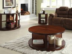 cherry wood coffee table with shelves