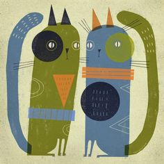 TWO CATS--Terry Runyan Shop:  https://society6.com/product/two-cats-v40_print#1=45