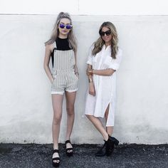 Muscle cut black tank turtleneck, white pinstriped overall cut offs, black platform sandals. Amanda Steele, New Fashion, Fashion Outfits, Fashion Trends, Summer Outfits, Cute Outfits, Black Platform Sandals, Collection 2017, Spring Summer