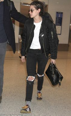 Kristen Stewart spotted at LAX wearing the MA-1 Slim Fit Flight Jacket.