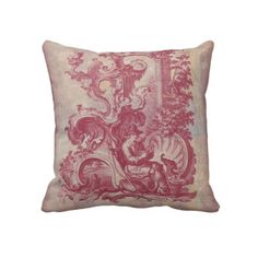 French Patina Vintage Red Toile Pompei Colors Throw Pillows by AntiqueImages. Red Throw Pillows, Colorful Pillows, Custom Pillows, Decorating Your Home, Decorating Ideas, Decor Styles, Tapestry, Vintage, Toile