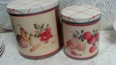 2 Vintage 1994 Mid-Century Decoware Tin Canister Retro Kitchen Ware OLIVE CAN CO