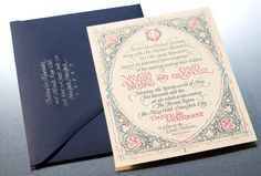 An ornate pattern reminiscent of the Middle Ages is paired with a formal monogram of the couple's initials.  #invitations #bridal #wedding