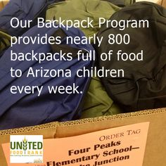 Our Backpack Program provides backpacks full of food to children in need every week. The packs are delivered to schools across eastern Maricopa and eastern AZ, then discreetly distributed to children in need. #hunger #poverty