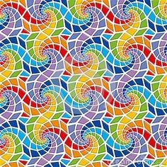 Het naadloze patroon van het mozaïek Rainbow Colors, Geometry, Coloring Books, Stained Glass, Patches, Doodles, Kids Rugs, Ceramics, Quilts