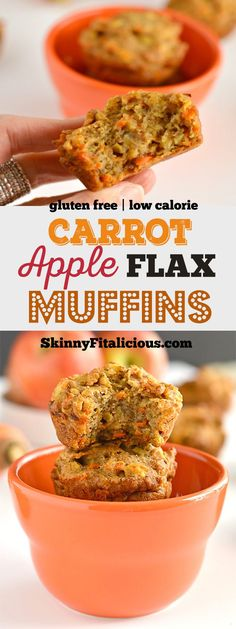 Start your day with Healthy Carrot Apple Flax Muffins! Made with lighter and nutritious ingredients these portable snacks are bursting with flavor. A gluten free, low calorie breakfast or snack for spring! Gluten Free + Low Calorie