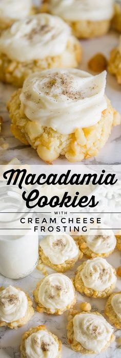 These are not your average Macadamia Nut Cookies! An easy shortbread dough, rolled in macadamia nuts, then baked and topped with cream cheese frosting! Chocolate Marshmallow Cookies, Chocolate Chip Shortbread Cookies, Toffee Cookies, Spice Cookies, Yummy Cookies, Cake Cookies, Frosted Cookies, Super Cookies, Cupcakes