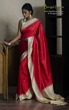 A beautiful Red color Pure Crepe Silk Saree available for Sale from Bengal Looms