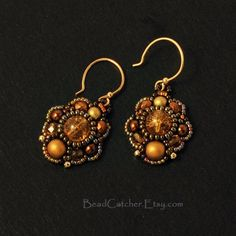Beadwoven Earrings in Honey Amber colors by BeadCatcher on Etsy, $38.00