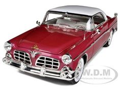 1955 Chrysler Imperial Burgundy 1/18 Diecast Car Model by Signature Models  white over red