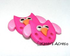 PINK OWL Metallic BUTTONS Polymer Clay Set of 2 by KatersAcres