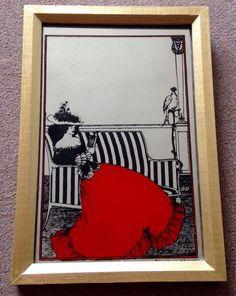 VTG 70s ASPELL SAGGERS PICTURE MIRROR ART NOUVEAU VICTORIAN EDWARDIAN LADY MUCHA