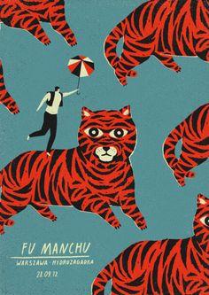 Fu Manchu, poster by Dawid Ryski Illustration Photo, Graphic Illustration, Graphic Art, Book Cover Design, Book Design, Dm Poster, Tiger Poster, Print Poster, Music Drawings