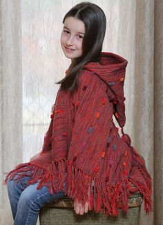 Red poncho for girls  unique poncho  by VeselinkaHandmade on Etsy