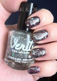 Verity Nail Lacquer- Celebrity.  Holographic glitter.  Shown over a black base.
