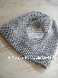 Berretto pura lana merino superwash con cuore ricamato - berretto bambino -  cappello neonato 7594b06dc043