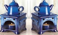 SET OF 2 CERAMIC OVEN COUNTRY KITCHEN  OIL WARMER BURNER SCENTED FRAGRANCE. #NA