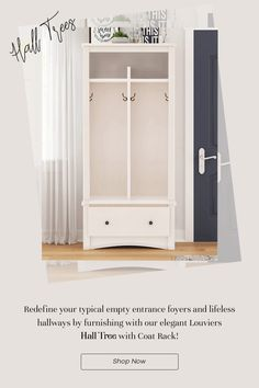 Redefine your typical empty entrance foyers and lifeless hallways by furnishing with our elegant Louviers Solid Mahogany Wood 1 Drawer Entryway White Hall Tree with Coat Rack! It has a very unique design – almost like an armoire, but with contemporary alterations to keep things interesting. It has been handcrafted from the sturdiest solid wood and is of highest heirloom quality. #halltree #entryway #mahoganywood #furniture #homedecor #decor #interiordesign #interior #whitefurniture #