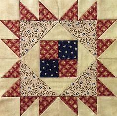 "Block #7 - Pattern is Hattie's Corner. Designed by Pamela Curo of Cotton Tales Patterns. Unfinished block is 9 1/2""."
