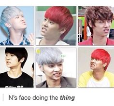 N's signature face. I love it<<this is literally the reason why N is my bias in vixx and why I started listening to VIXX