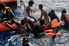Desperate: Migrants struggled to stay afloat on minimal lift rafts as they waited to be rescued by members of Proactiva Open Arms NGO in the Mediterranean Sea Refugee Stories, Europe Continent, Syrian Refugees, Mediterranean Sea, New Life, Rafting, Ny Times, Continents, Boat