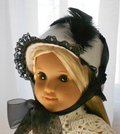 American Girl Doll Clothes - Doll Hat - 1914 Rebecca's Winter Hat/Bonnet in Black and White. $23.00, via Etsy.