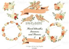 Check out Floral Wreaths, Banners & Flowers 2 by Delagrafica on Creative Market
