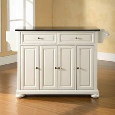 Crosley Furniture Alexandria Solid Black Granite Top Kitchen Island in White Finish