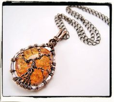 Yellow Amber Sleeping Tree of Life Pendant With Chain