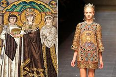 Byzantines on the runway. Dolce Gabbana Fall Winter 2014 Collection. Justinian and Theodora rule again.