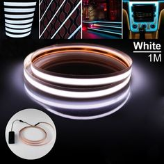 Zitrades White 3ft (1mx1.5cm)Neon Glowing Strobing Electroluminescent Robbin EL Tape Belt