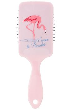 Retro pink flamingo hair brush. Length 8.75 inch