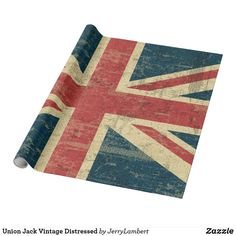 Shop Union Jack Vintage Distressed Wrapping Paper created by JerryLambert. Vintage Wrapping Paper, Custom Wrapping Paper, Great Britain United Kingdom, Uk Flag, Flag Design, National Flag, Union Jack, Wraps, Prints
