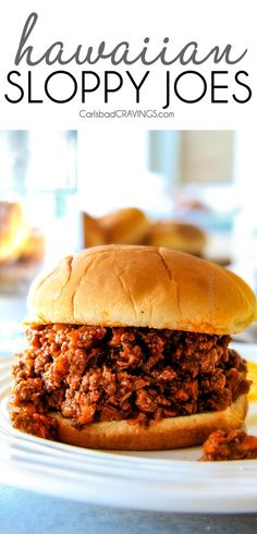 So delicious made with ground pork-loin! 30 Minute Hawaiian Sloppy Joes smothered in the most delicious sweet and tangy Hawaiian BBQ Sauce your whole family will love! Incredibly easy, make ahead and great for crowds! Sloppy Joe Recipe With Brown Sugar, Homemade Sloppy Joe Recipe, Homemade Sloppy Joes, Sloppy Joes Recipe, Sweet Sloppy Joe Recipe, Paninis, Quesadillas, Burritos, Salsa Barbacoa