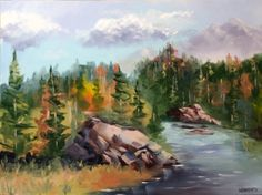 Forest River Landscape Oil Painting by Artist Mark Webster, painting by artist Mark Adam Webster