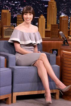 Jessica Biel from The Big Picture: Today's Hot Photos  The actress turns heads in an off the shoulder dress while stopping by The Tonight Show starringJimmy Fallon in New York City.