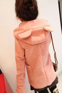 2012 new autumn winter collection Korean wild casual cute bear Cap Horn button long coat in woolen cloth womens clothing